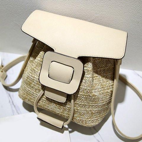 Straw Splicing Drawstring Crossbody Bag   Beige