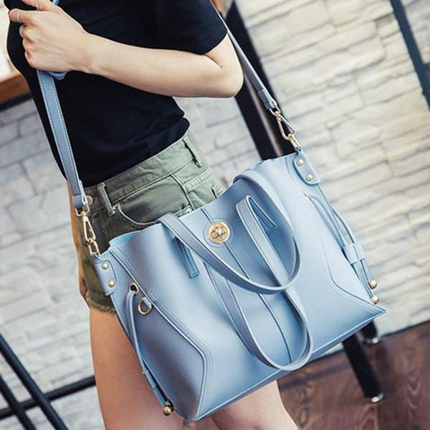 Twist-Lock Closure PU Leather Metal Shoulder Bag   Light Blue