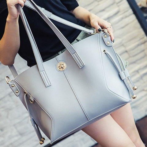 Twist-Lock Closure PU Leather Metal Shoulder Bag   Light Gray