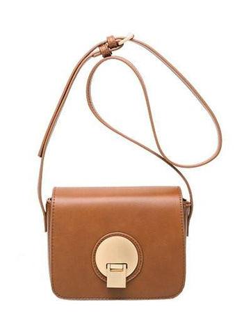 Square Shape Metal PU Leather Crossbody Bag   Brown