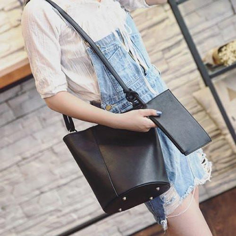 Snaps PU Leather Rivets Shoulder Bag   Black