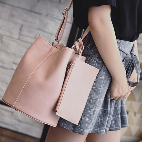 Snaps PU Leather Rivets Shoulder Bag   Pink