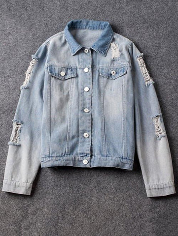 Shirt Neck Distressed Denim Jacket Light Blue