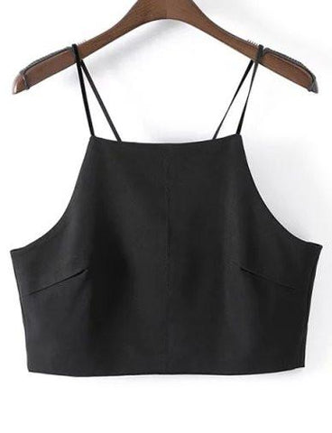 Slim Fit Spaghetti Tank Top with Back Split   Black
