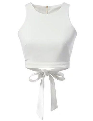 Slim Fit Back Zip Tank Top with Strap Bowknot Trim   White