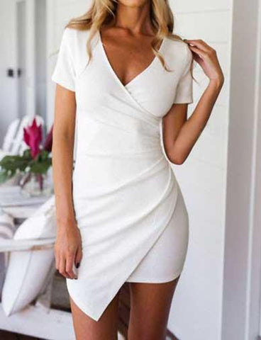 Vibrant Short Sleeve Wrap Slinky Dress in Pure Color   White