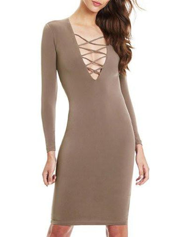 Sexy Deep V-Neck and Cross Criss Trim Close Fitting Dress   Khaki
