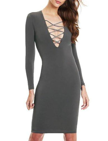 Sexy Deep V-Neck and Cross Criss Trim Close Fitting Dress   Dark Gray