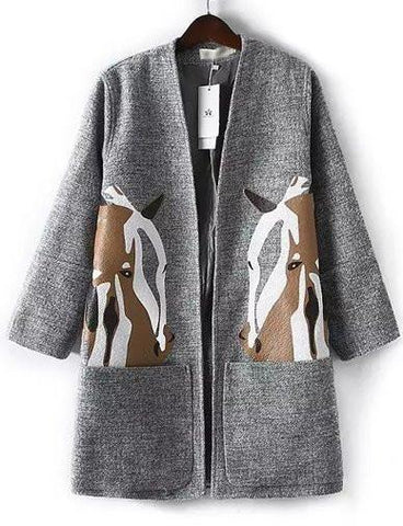 Winter Horse Printed Kangaroo Pocket Wool Coat in Gray   Gray
