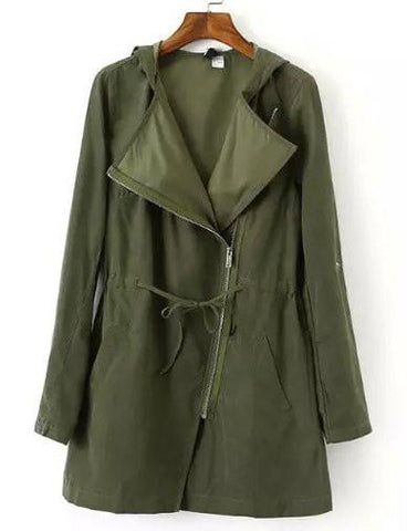 Vintage Slanted Zip Drawstring Trench Coat in Solid Color   Army Green