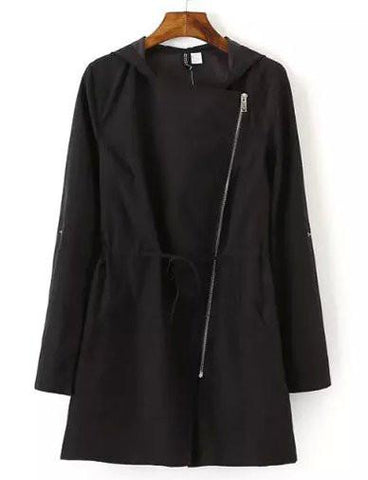 Vintage Slanted Zip Drawstring Trench Coat in Solid Color   Black