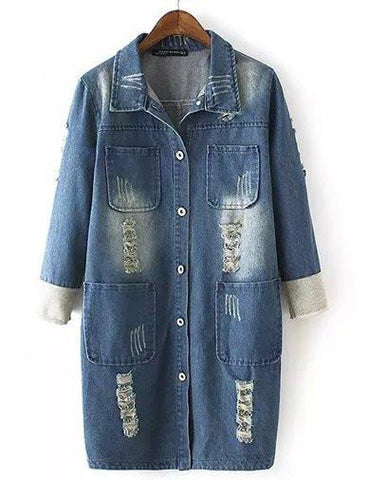 Street Style Four Pockets Longline Denim Jacket with Ripped   Jean Blue