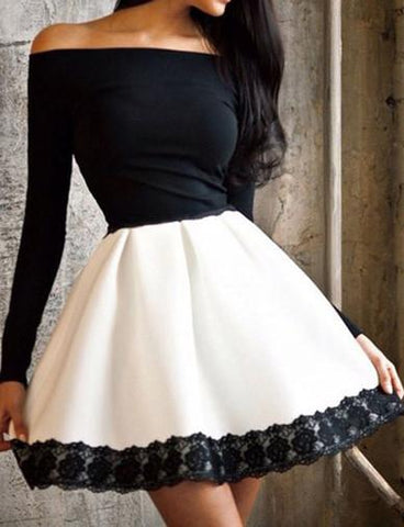 Sexy Off-Shoulder Flare Hem Mini Dress with Lace Panel   Black and White