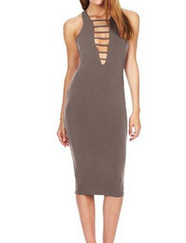 Slim Fit Deep V-Neck Sleeveless Dress in Pure Color   Gray