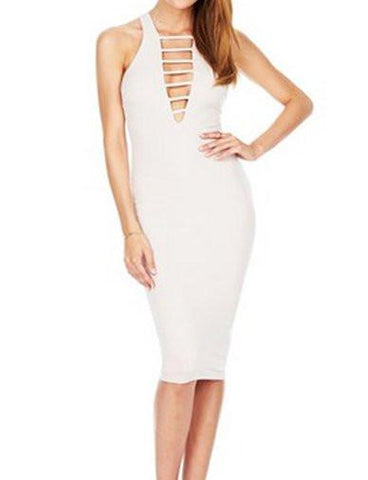 Slim Fit Deep V-Neck Sleeveless Dress in Pure Color   White