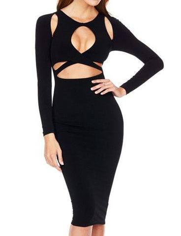 Sexy Hollow Out Trim Bodycon Dress in Pure Color   Black