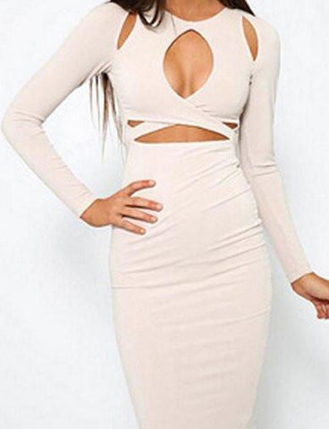 Sexy Hollow Out Trim Bodycon Dress in Pure Color   White