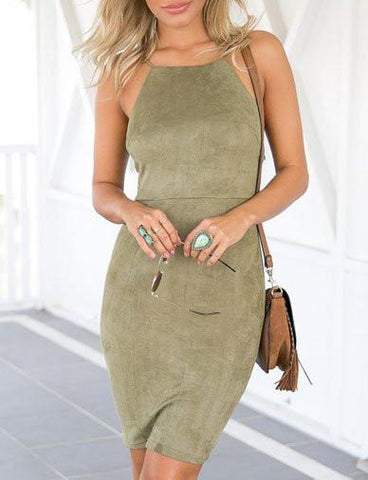 Stunning Cami Bodycon Dress in Lace Up Back   Army Green