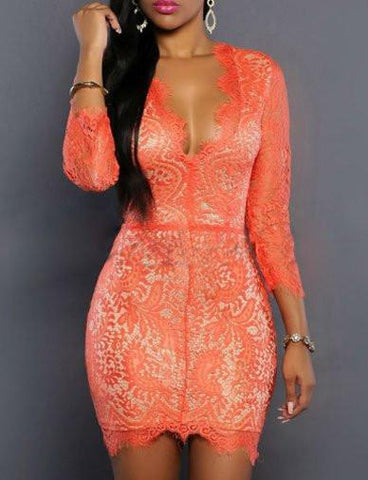Sexy Plunge Bodycon Mini Lace Dress in Crop Sleeve   Orange