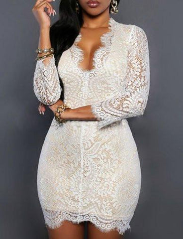 Sexy Plunge Bodycon Mini Lace Dress in Crop Sleeve   White