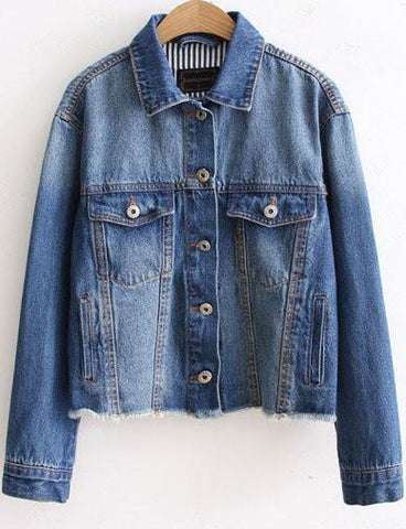 Stylish Long Sleeve Denim Jacket with Fringed Hem   Jean Blue