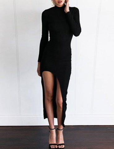 Stylish Long Sleeve Slim Fit Dress with Asymmetrical Split Design   Black