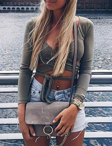 Street Style Long Sleeve V-neck Crop Top with Self-tie Trim   Army Green