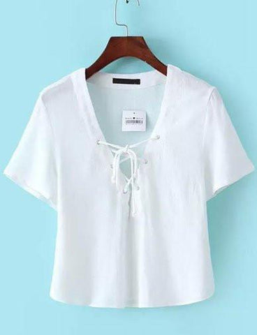 Sexy Lace-up V-Neckline Loose Crop Tee in Pure Color   White