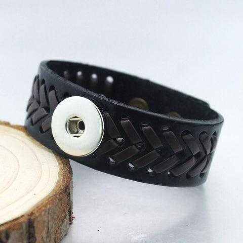 Unisex Personalized leather bracelet for Noosa Charm Beads Buttons - One Direction DIY Snap Charm Bracelet For fit 18mm Click Button Pop