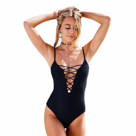 Women Monokini Bandage One-Piece Beachwear Bodysuit Cut-out Vintage Swimsuit