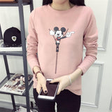 Woman Sweatshirt Disney Mickey Cartoon Funny Casual Design Vintage Acetate Long-sleeve - Pink, Grey, White