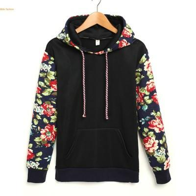Women`s hoodie sweatshirt printed hooded pullover long sleeves size S - XL - Floral Retro