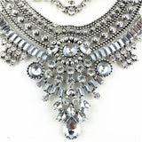 Vintage chunky crystal maxi statement bib metal chain flower necklace costume jewelry