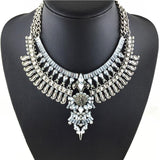 Vintage maxi necklace choker statement crystal boho costume collier jewelry