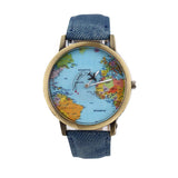 Unisex Fashion Vintage Casual World Map Wrist Watch for Children and adults