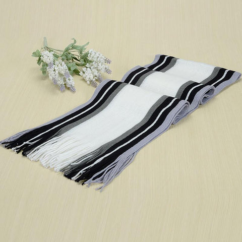 Unisex Scarf Knit Shawl Cashmere Striped with Tassels For Men & Women
