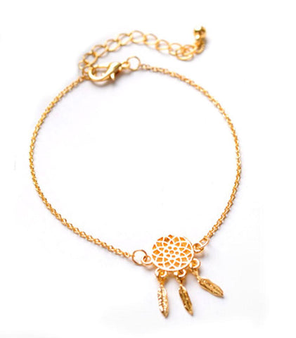 Spritual Bracelet Dream Catcher Charm Gold/Silver Plated Psychic Jewelry For Women