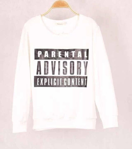 Women`s sweatshirt printed pullover long sleeves size S - L - Parental Advisory