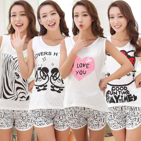 Women's cute pajama short sets and sleeveless tops sleepwear pj sets