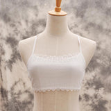 Woman Sexy Bra Lace Padded Bralette Halter Tank Top Triangle at the Back One Size Lingerie