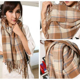 Women's Burberry Scarf Thick Cashmere - Tassels Camel Blue Red Beige Check Oversized Shawl 200X65CM