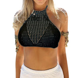 Woman Crochet Bralette Triangle Lace Crop Top Cami Halter Hollow Out Strappy Knitted Bra One Size