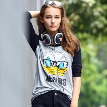 Women Funny Disney T Shirt Design Long Sleeve - Donald Duck Cartoon Print