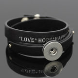 Unisex Personalised leather bracelet for Noosa Charm Beads Buttons - Fit DIY Snap Charm Love Bracelet For 18mm Click Button Pop