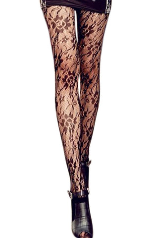 Women leggings black lace up floral design slim fit tights