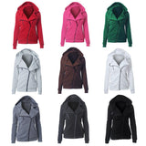 Zip Fleece Hooded Jacket Jumpsuit Turtleneck - Comfortable Coat for Women's