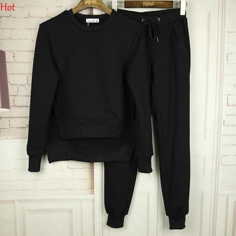 Women Sweatshirt and Sweatpants Set Casual Long Sleeve Solid Color Irregular Sportwear