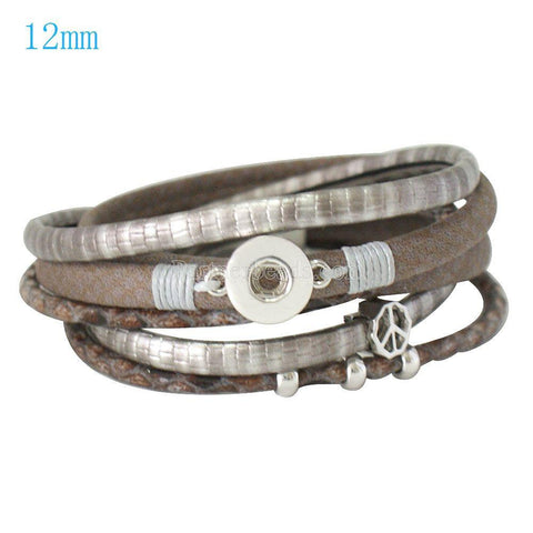 Unisex Personalised leather bracelet for Noosa Charm Beads Buttons - Fit DIY Snap Charm Plated Bracelet For 12mm Click Button Pop Women Snap Partnerbeads