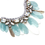 Vintage collar chunky choker boho statement crystal bib necklace jewelry