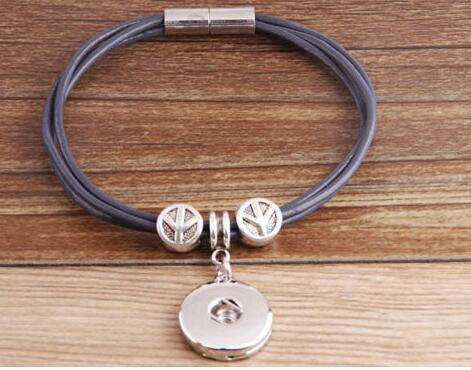 Women's Personalised leather bracelet for Noosa Charm Beads Buttons - Fit DIY Snap Charm Bracelet For Click Button Pop Vintage Silver Peace Sign